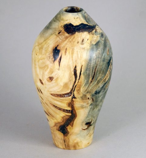 "Charles Eric Reeves, donation for WGBY Silent Art Auction Hollow Form Vessel Turned from Buckeye Burl; 6"" high x 3/5"" diameter"